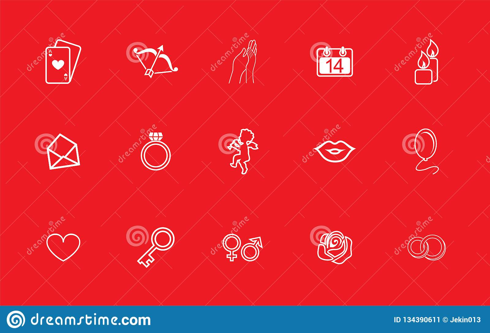 A set of vector pictures on love