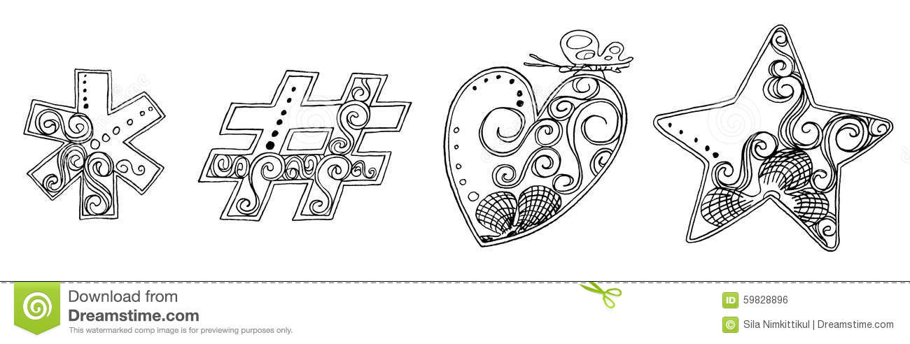 Symbol Heart Star Vanda Freehand Pencil Sketch Font Stock