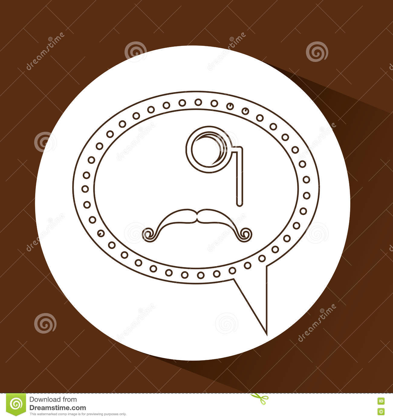 Symbol Hipster Monocle And Long Mustache Stock Vector Illustration