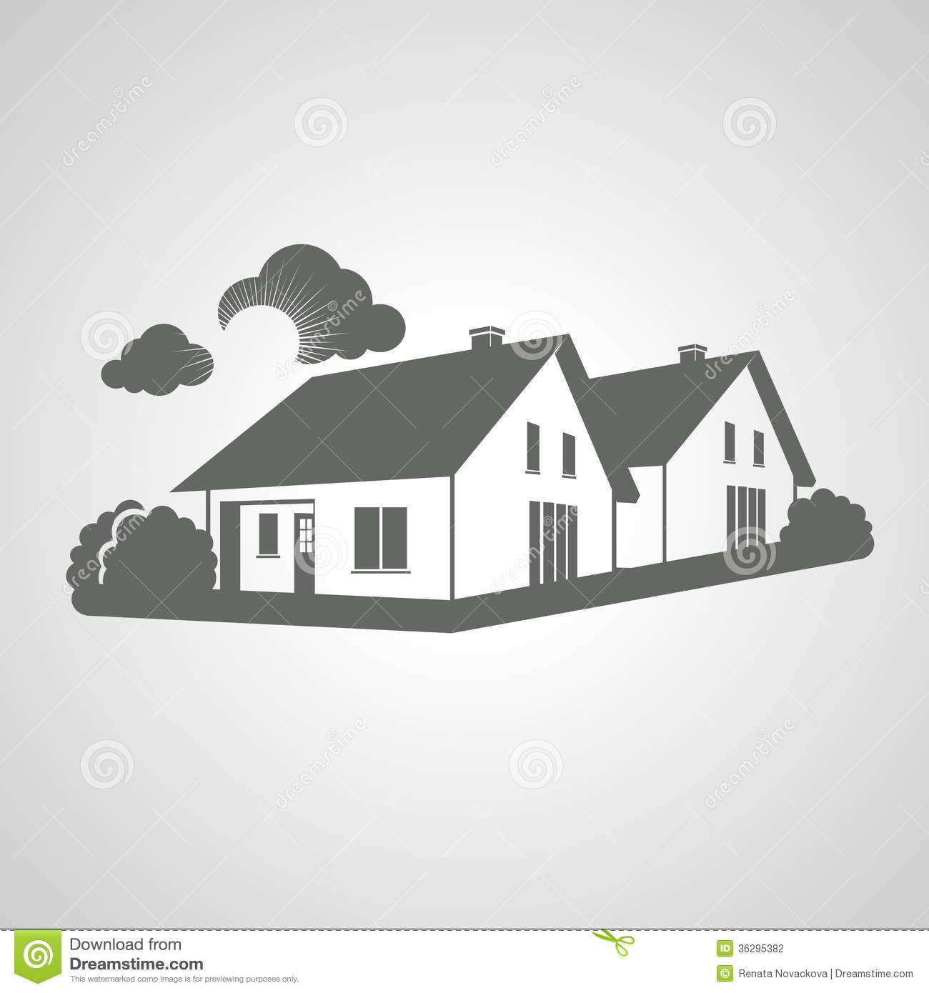 Symbol of home group of houses icon realty silhouette sign of real estate