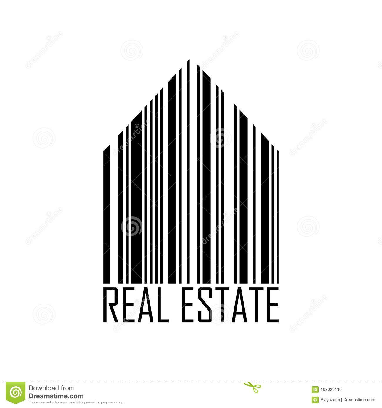 Symbol Of House With Barcode Design And Real Estate Label