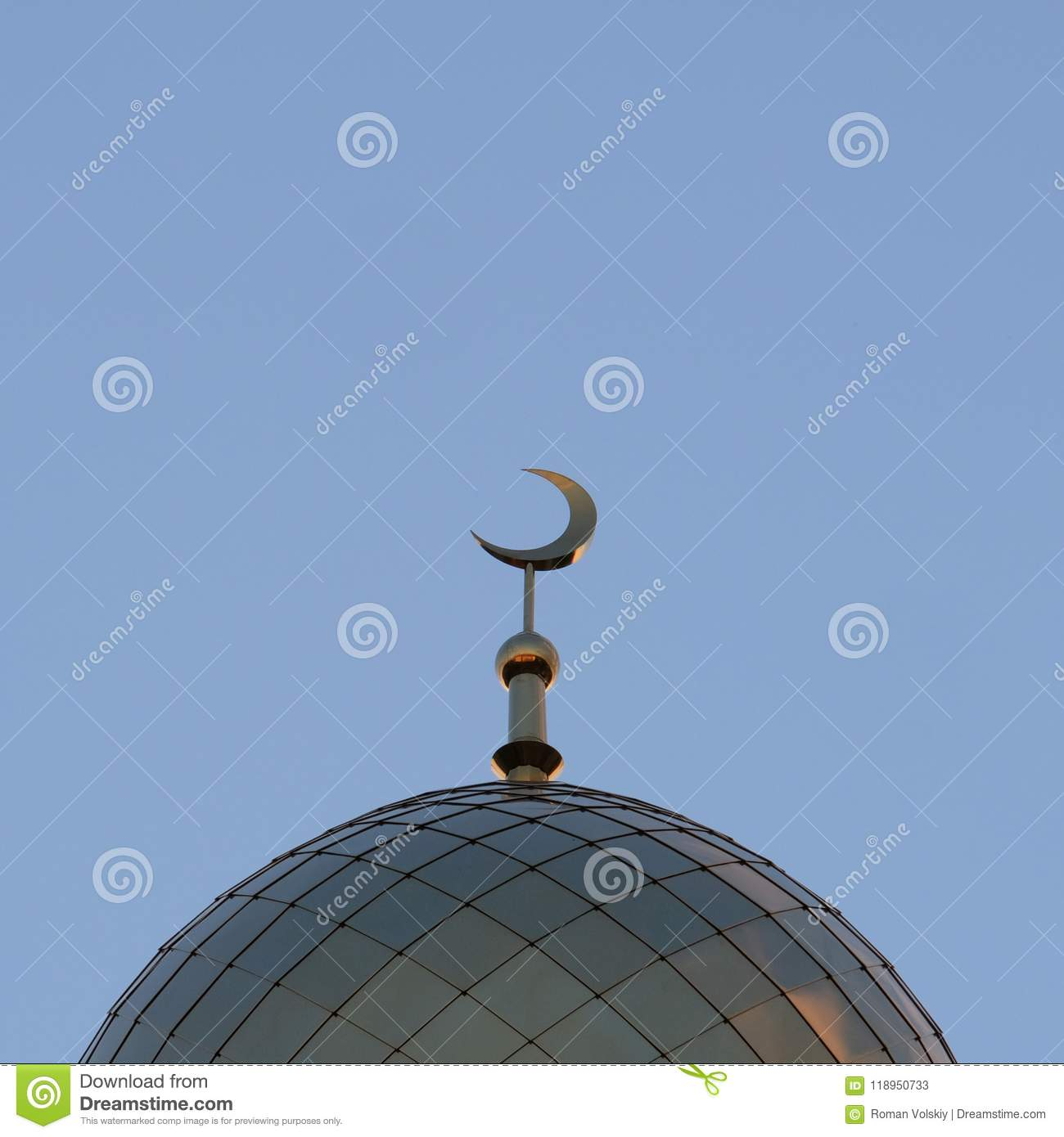 The Symbol Of Islam Is A Golden Crescent Moon On Top Of The Mosque
