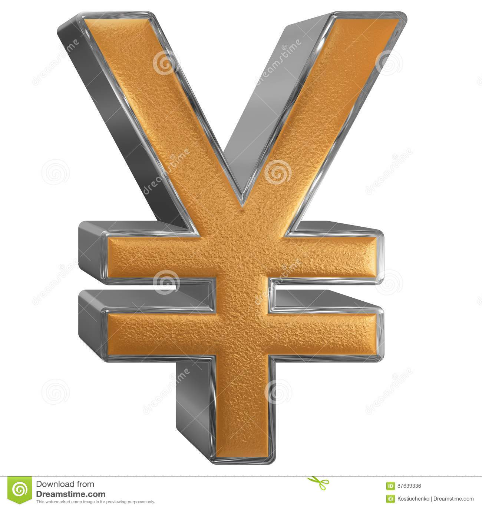 Symbol Of Japanese Yen, Isolated On White Background, 3D Illust