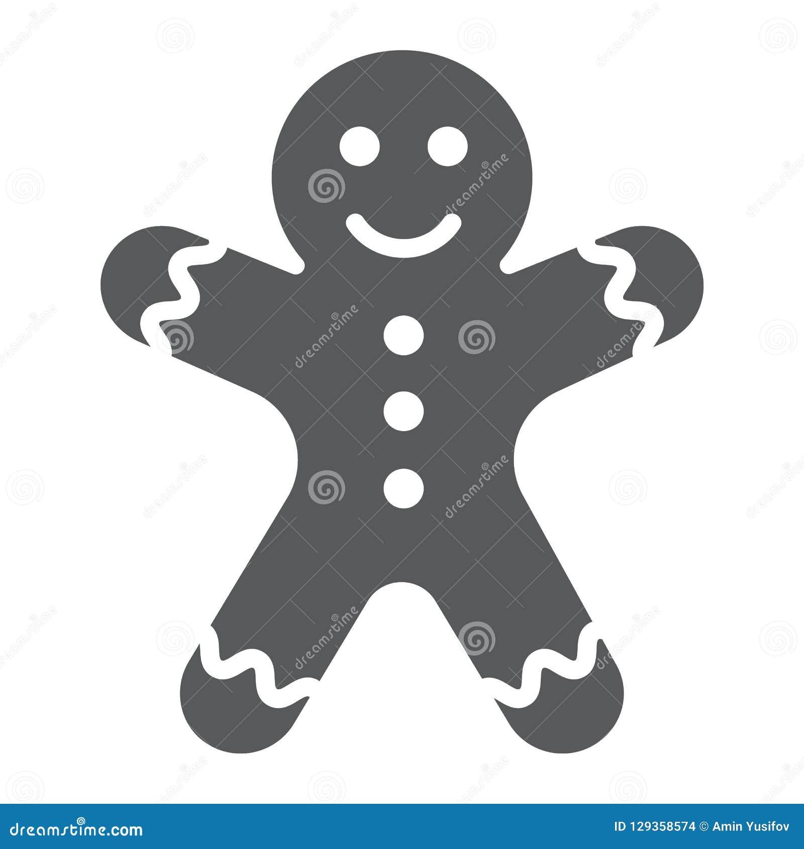 Symbol, jul och sött för skåra för pepparkakaman, kakatecken, vektordiagram, en fast modell på en vit bakgrund