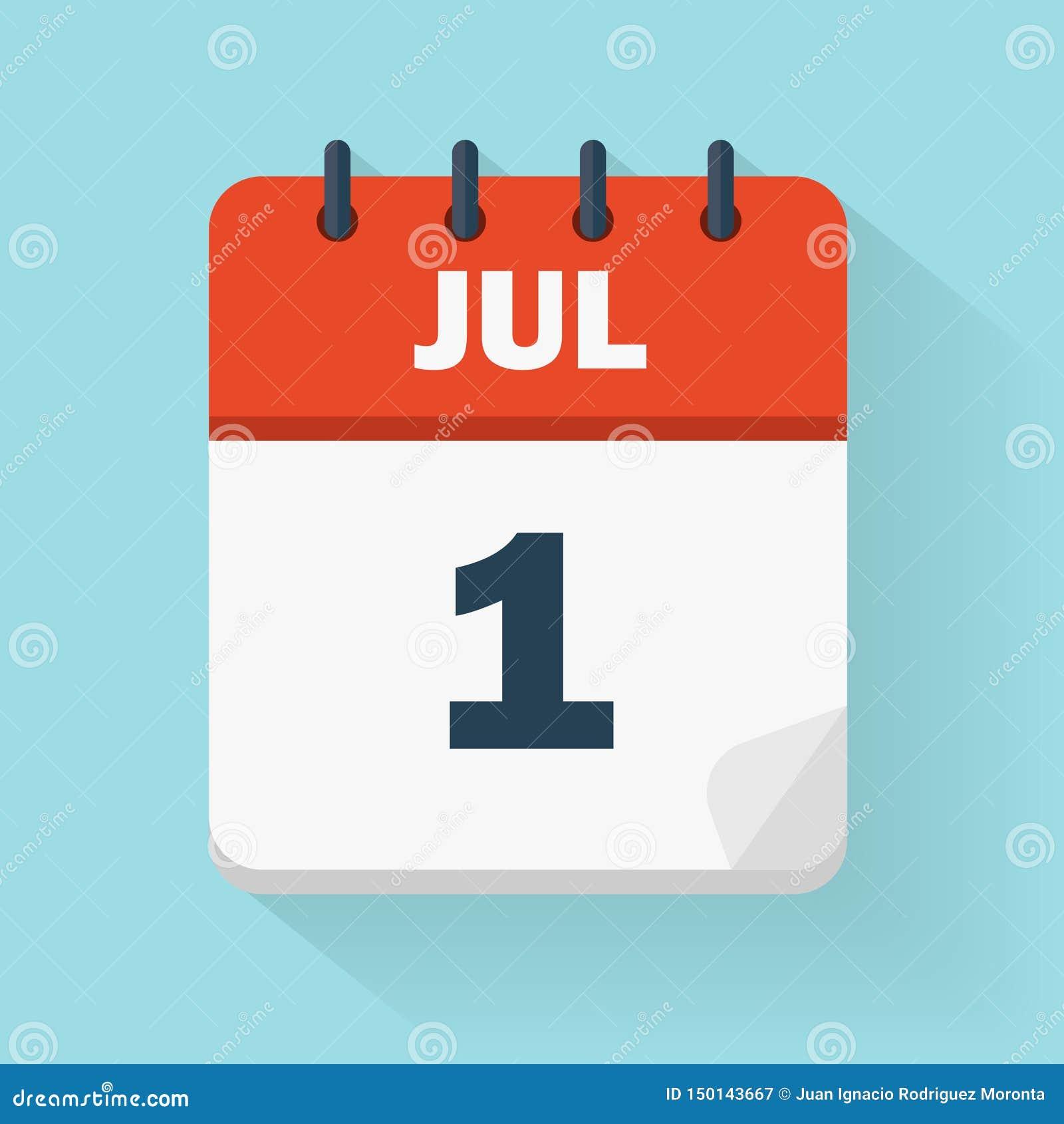 Symbol Juli 1st för daglig kalender i vektorformat