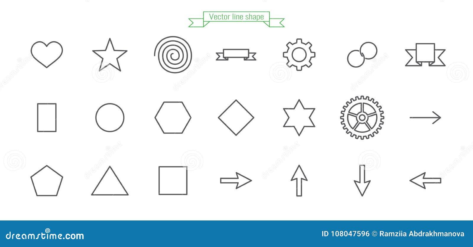 Symbol linje, uppsättning som är stor, förälskelse, form, hjärta, stjärna, spiral, flagga, band, kugghjul, cirkel, kedja, cirkel,