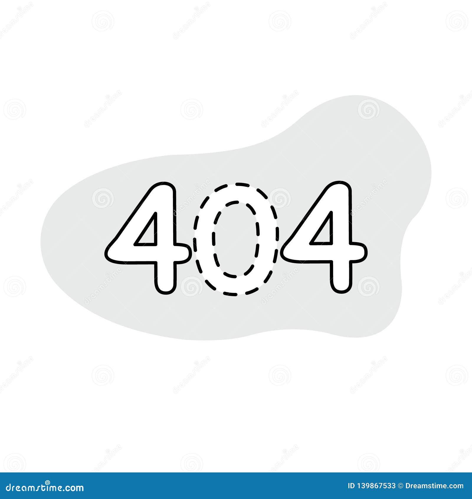 Symbol/logo för fel 404 Konstillustration