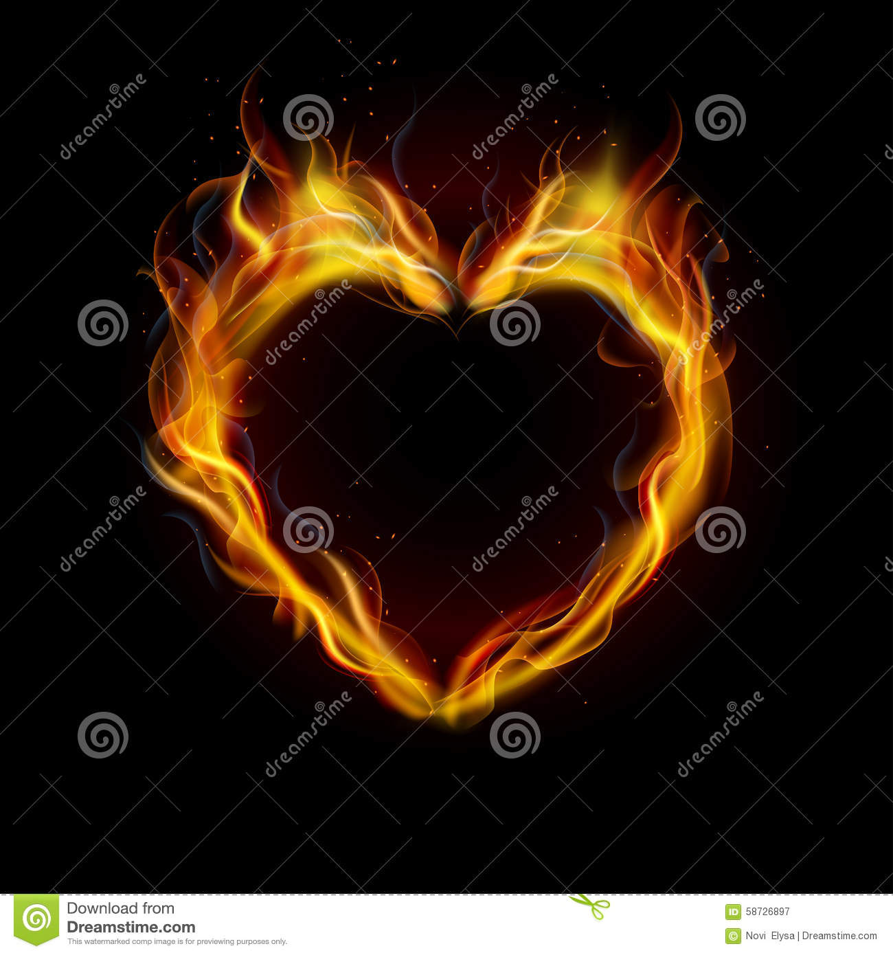 Symbol Of Love Ring Of Fire With Black Background Stock Vector