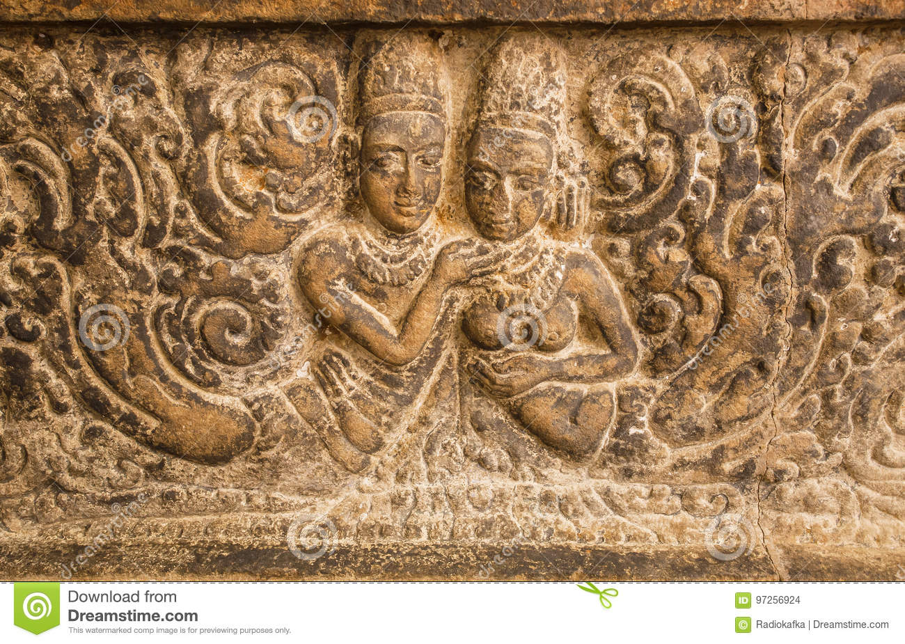 Symbol Of Love Two Bodies On Carved Wall Relief Made In Circa 7th