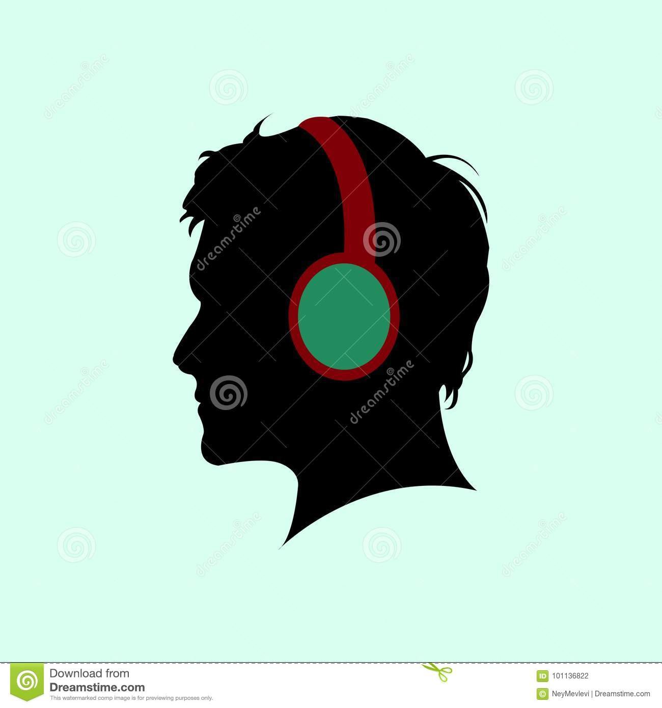 Symbol For A Man Listening To Music Stock Vector Illustration Of