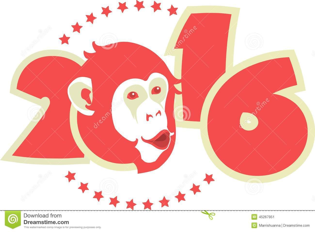 ... of year on Chinese calendar monkey in red on figures of the year
