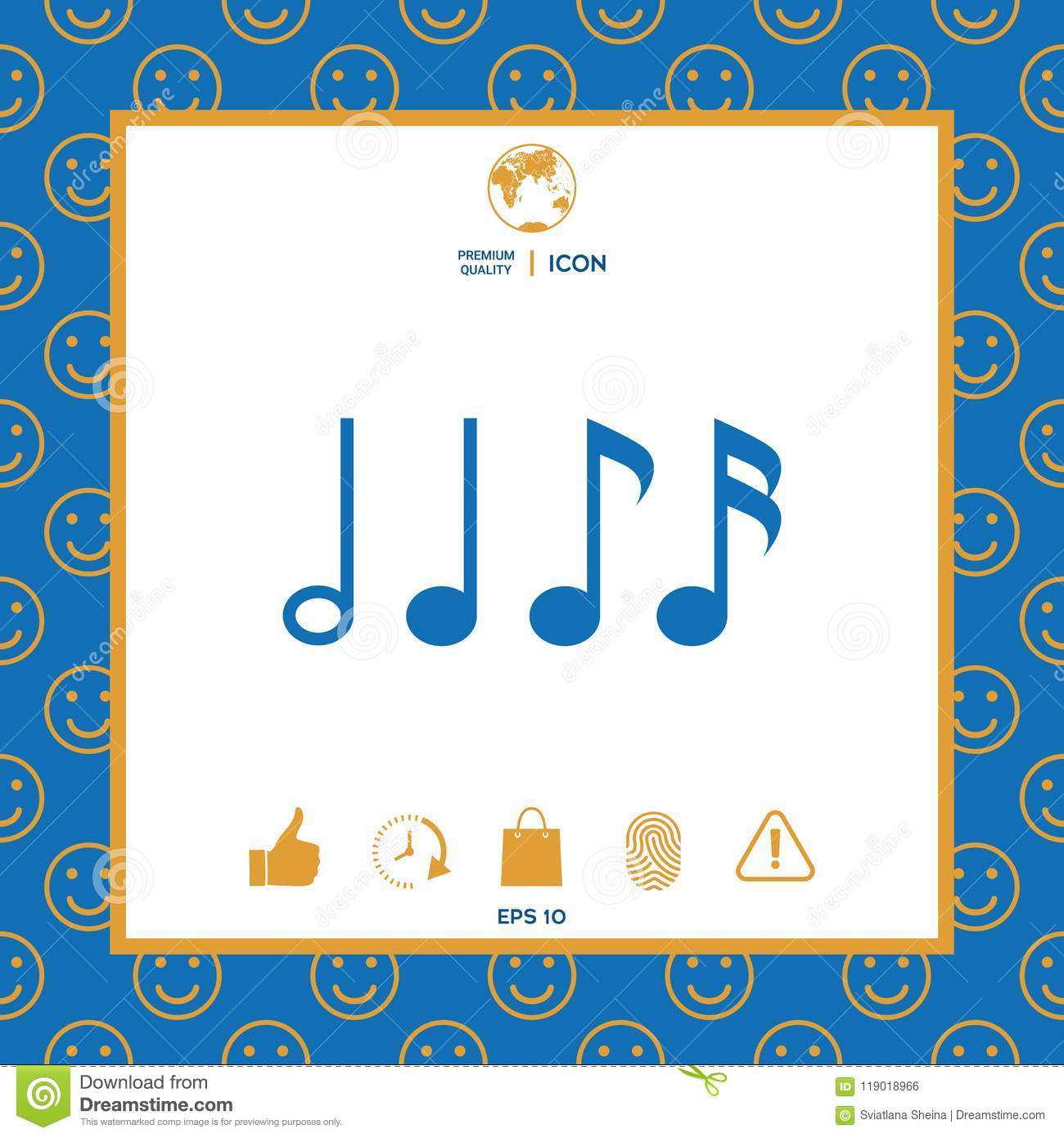 Symbol Of Music Notes Sixteenth Note Eighth Note Quarter Note