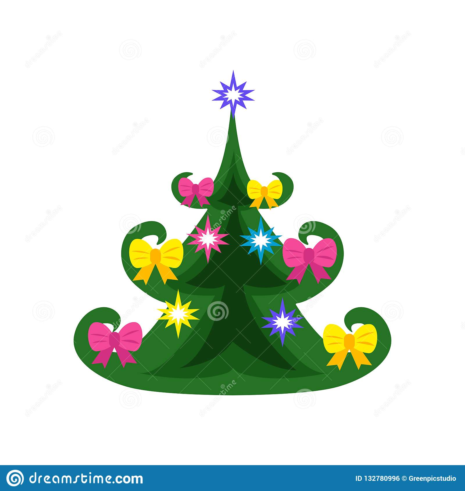 Colorful Christmas Tree Decorations.The Symbol Of The New Year A Beautiful Colorful Green
