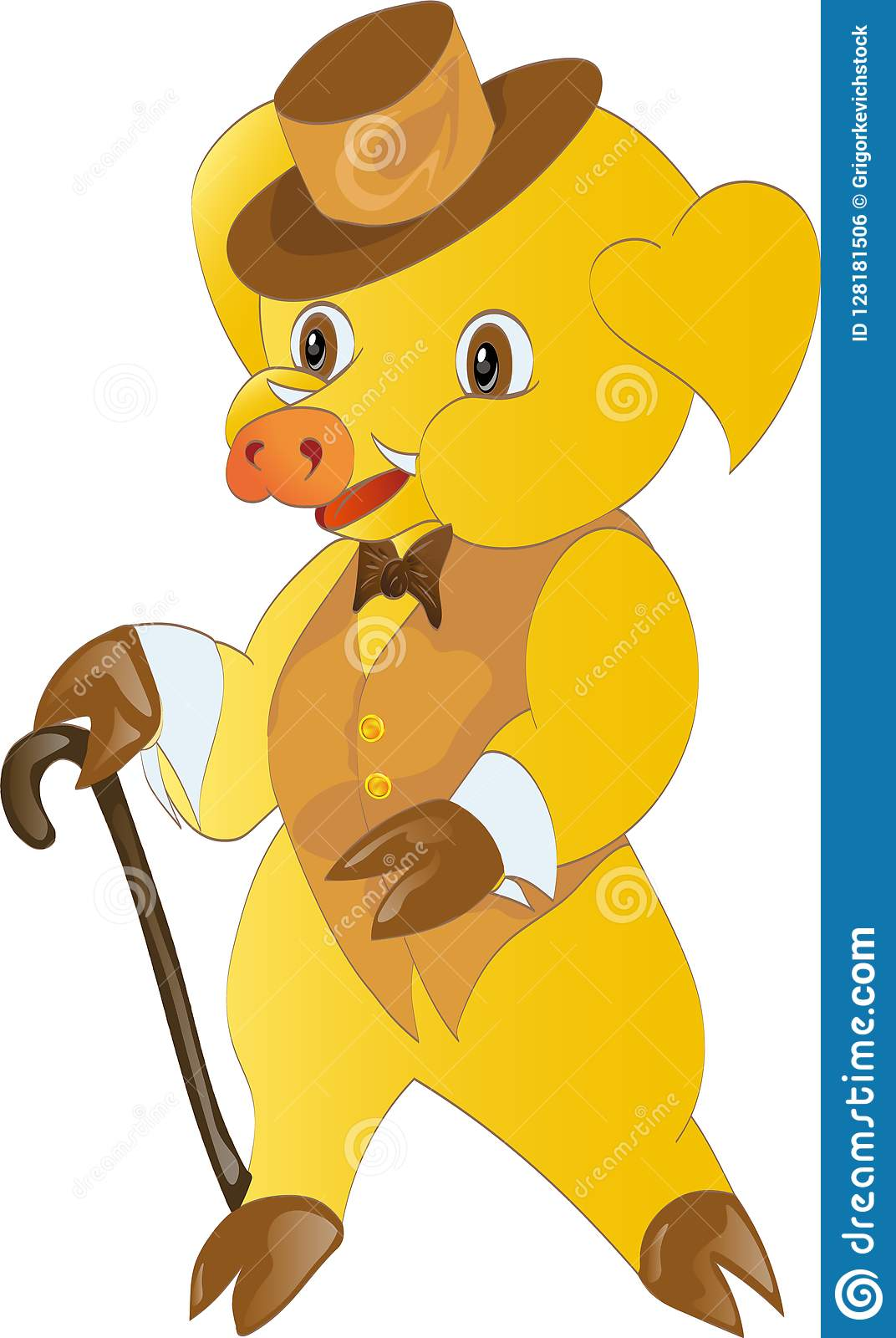 Symbol of the new year yellow pig in the image of a true gentleman