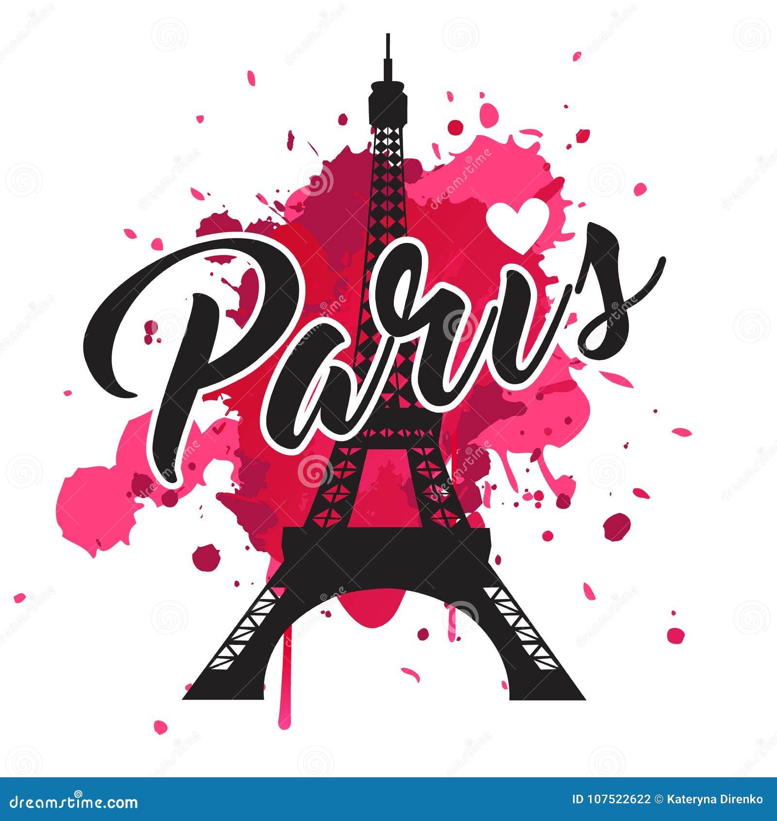 Symbol Paris Modedruck für weibliche Abnutzung