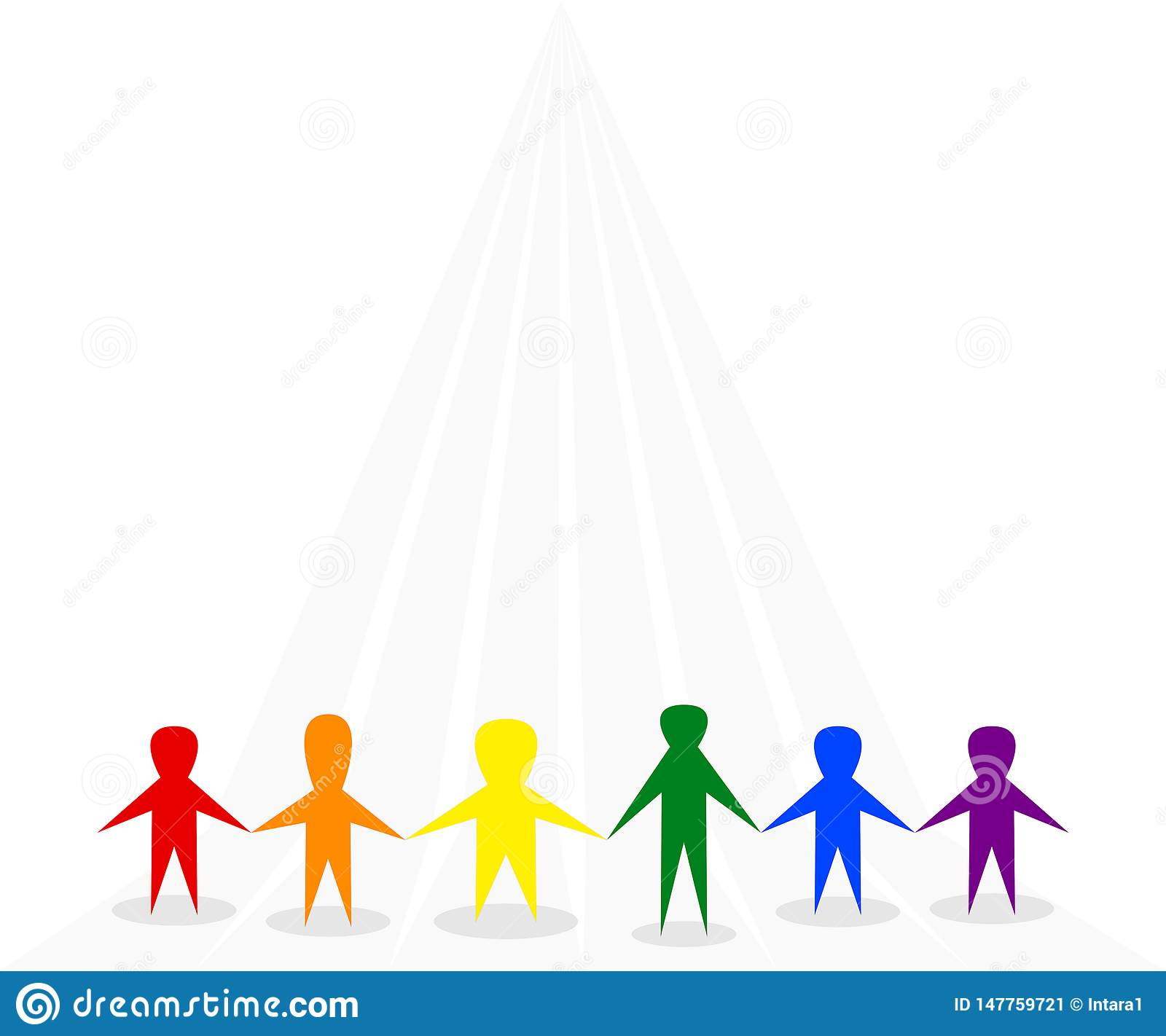 Symbol of people standing together on gray background, use LGBTQ symbolic rainbow colors red, orange, yellow, green, blue, purple