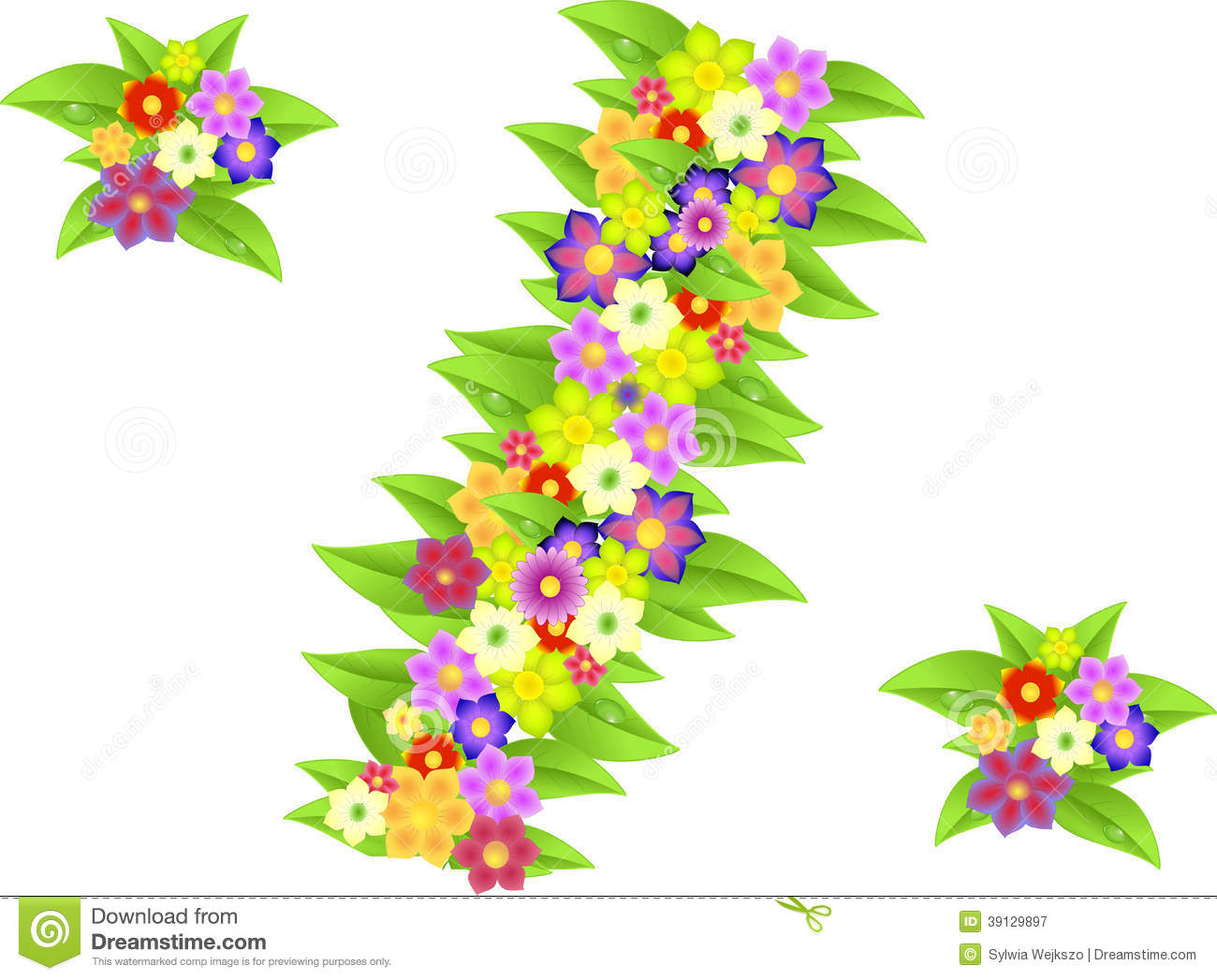 Symbol Of Percent Made Of Flowers For Discounts Stock Illustration