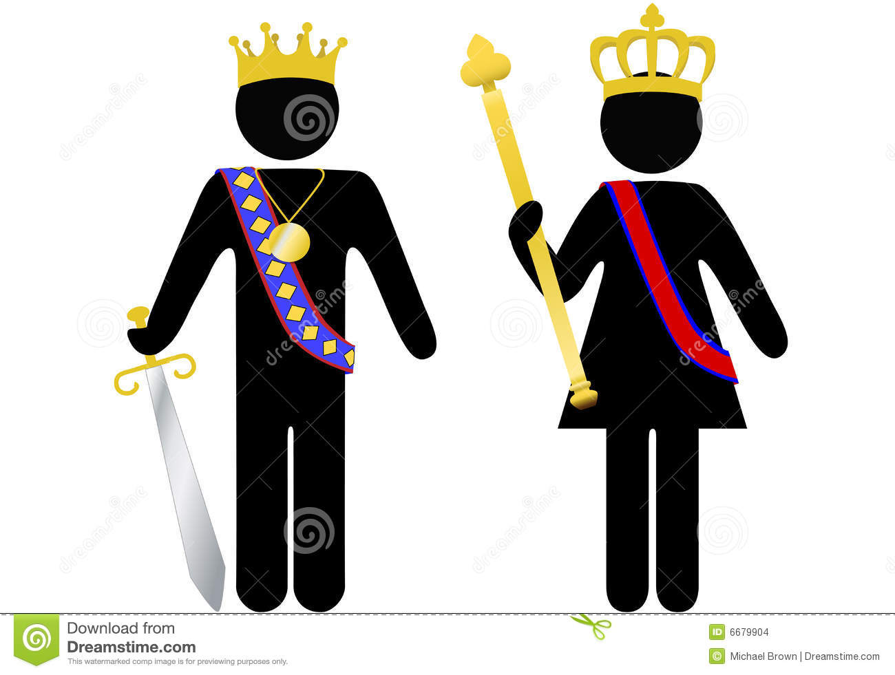Symbol Person Royal King And Queen With Crowns Stock Images - Image ...