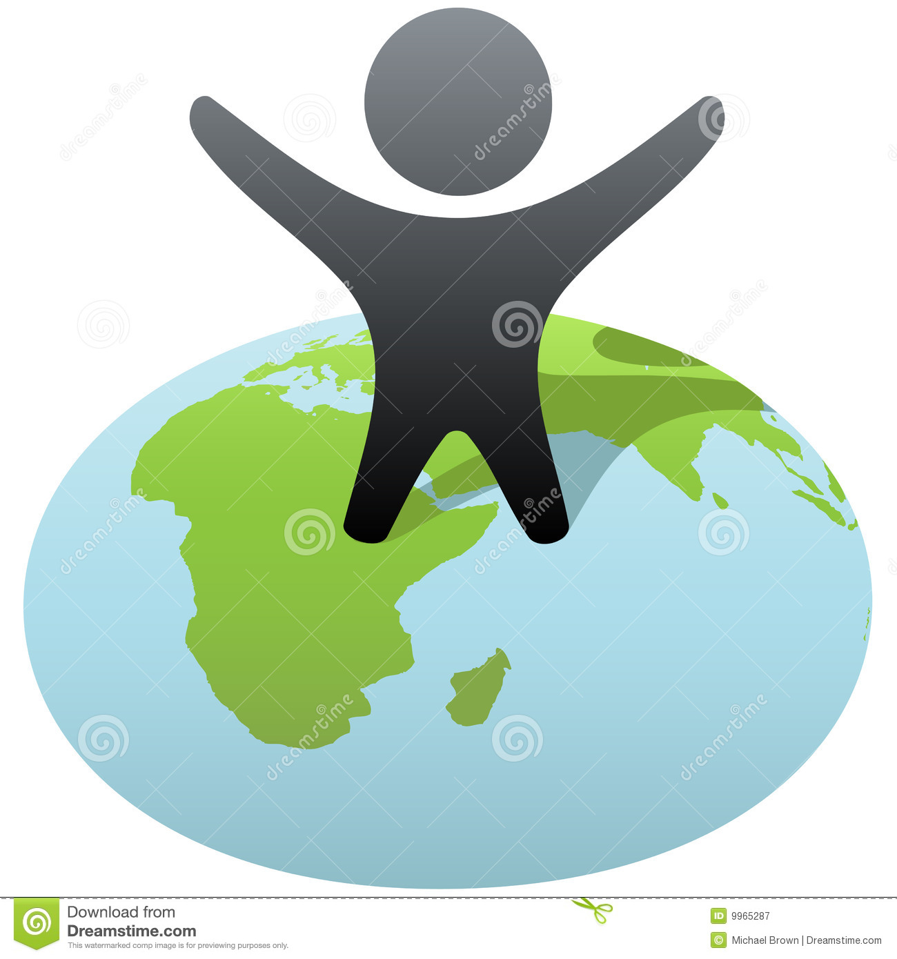 Symbol Person Stands On Globe To Celebrate Success Royalty Free Stock
