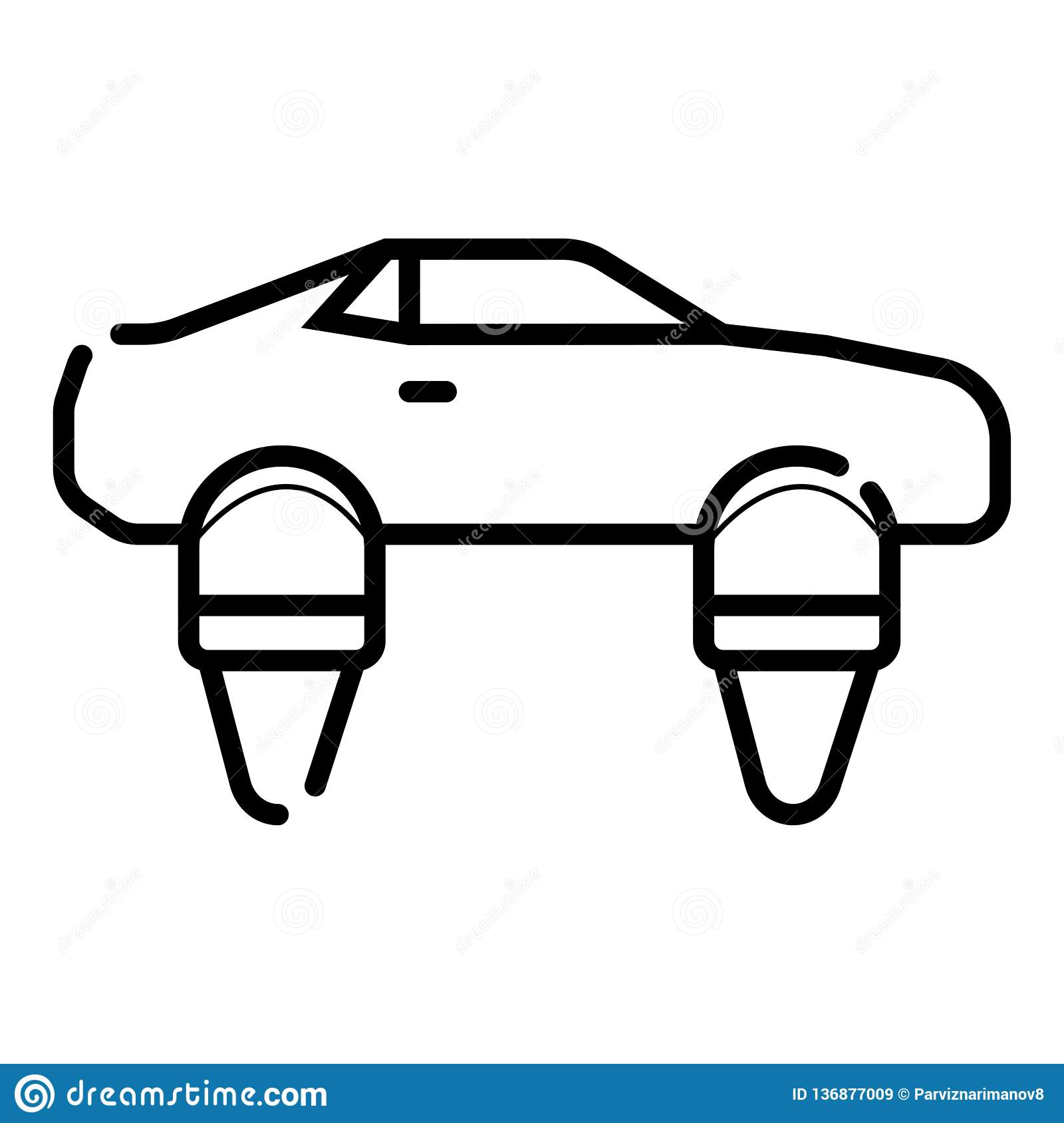 Symbol of Personal Hovercar Thin line Icon of Future Technology. Stroke Pictogram Graphic for Web Design. Quality Outline Vector