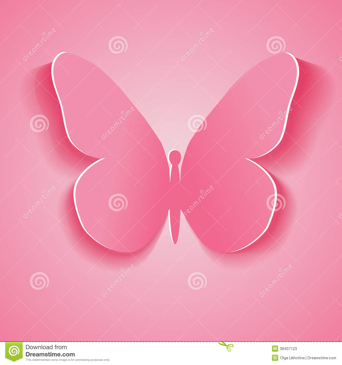 Symbol pink butterfly cut out of paper vector illustration eps royalty free stock photo biocorpaavc Images