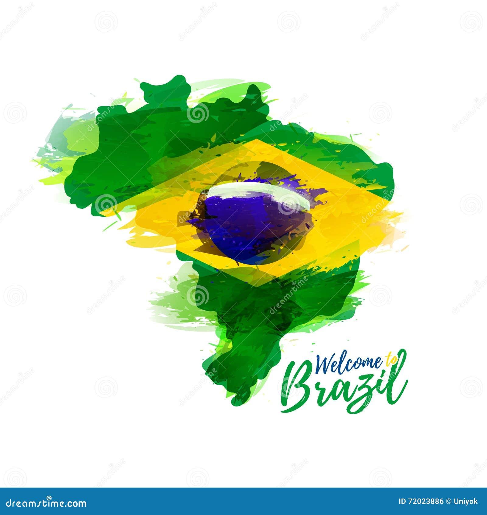 Symbol, Plakat, Fahne Brasilien Karte von Brasilien mit der Dekoration der Staatsflagge