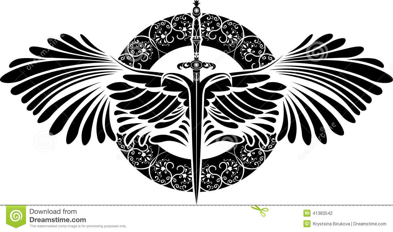 Symbol Of Protection Sword With Wings Stock Vector Illustration