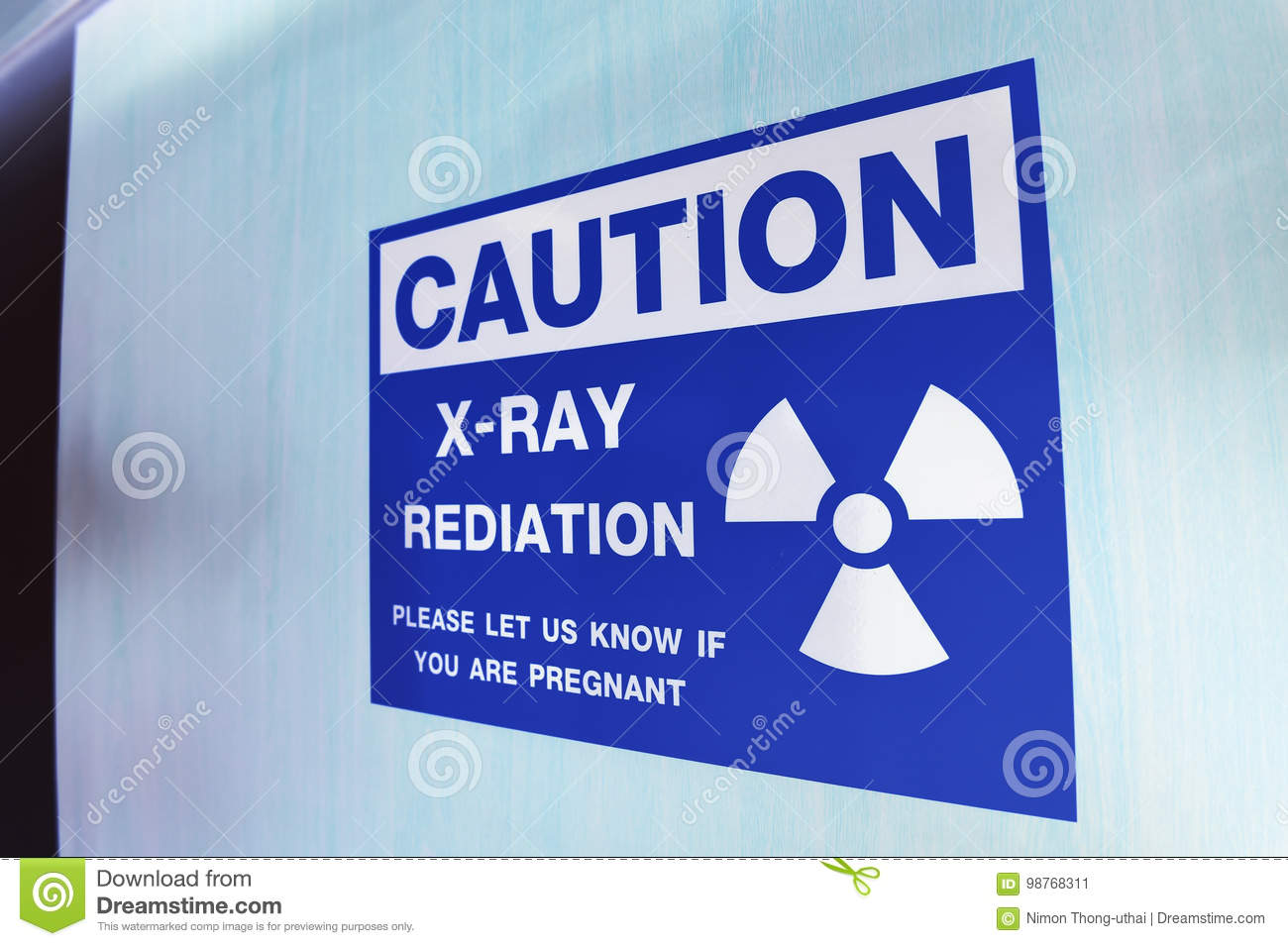 Symbol Of Radioactivity And Radiation From X Ray Machine Stock Image