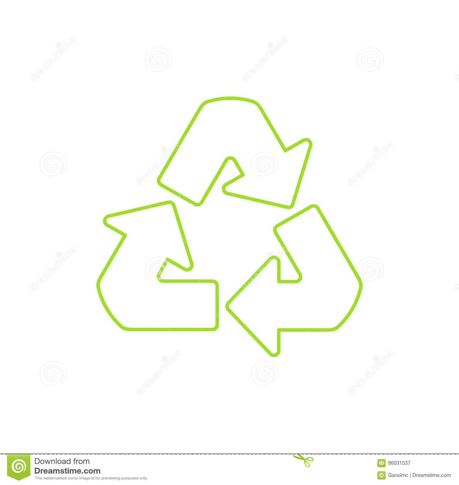 Symbol recyklingu Wektorowa liniowa ikona