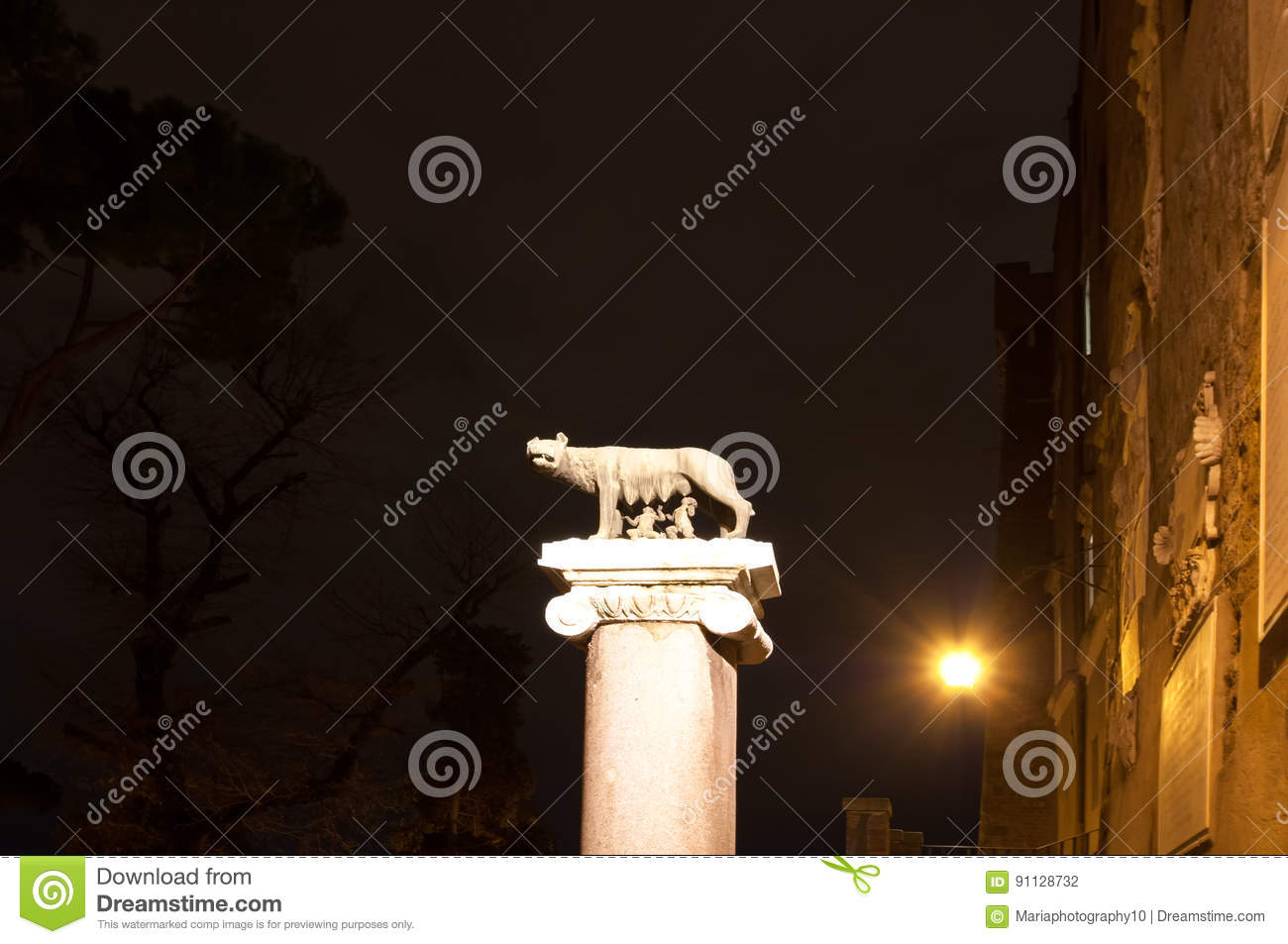 Symbol Of Rome She Wolf Breastfeeding Romulus And Remus Stock