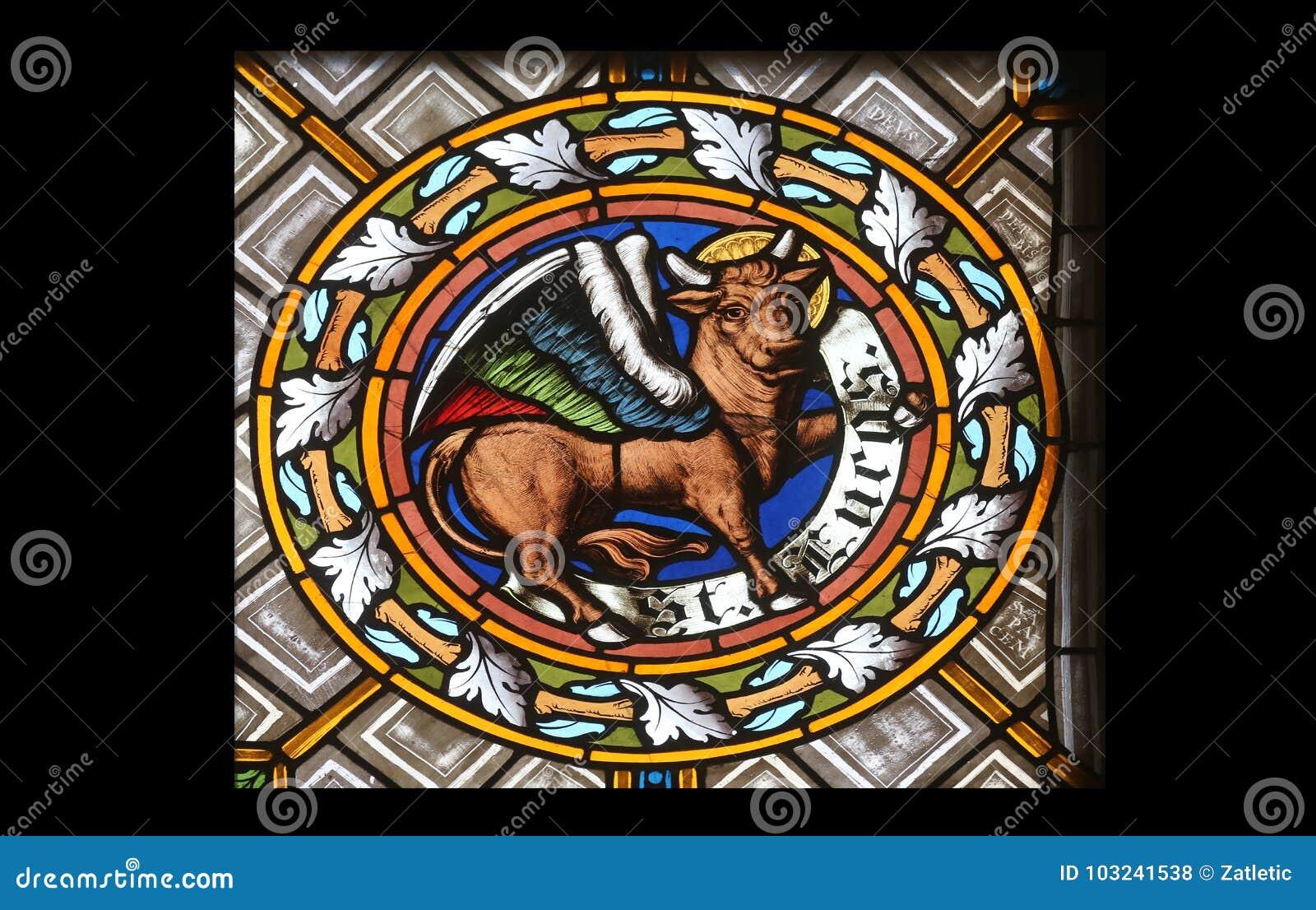 Symbol Of The Saint Luke The Evangelist Stock Photo Image Of Glass