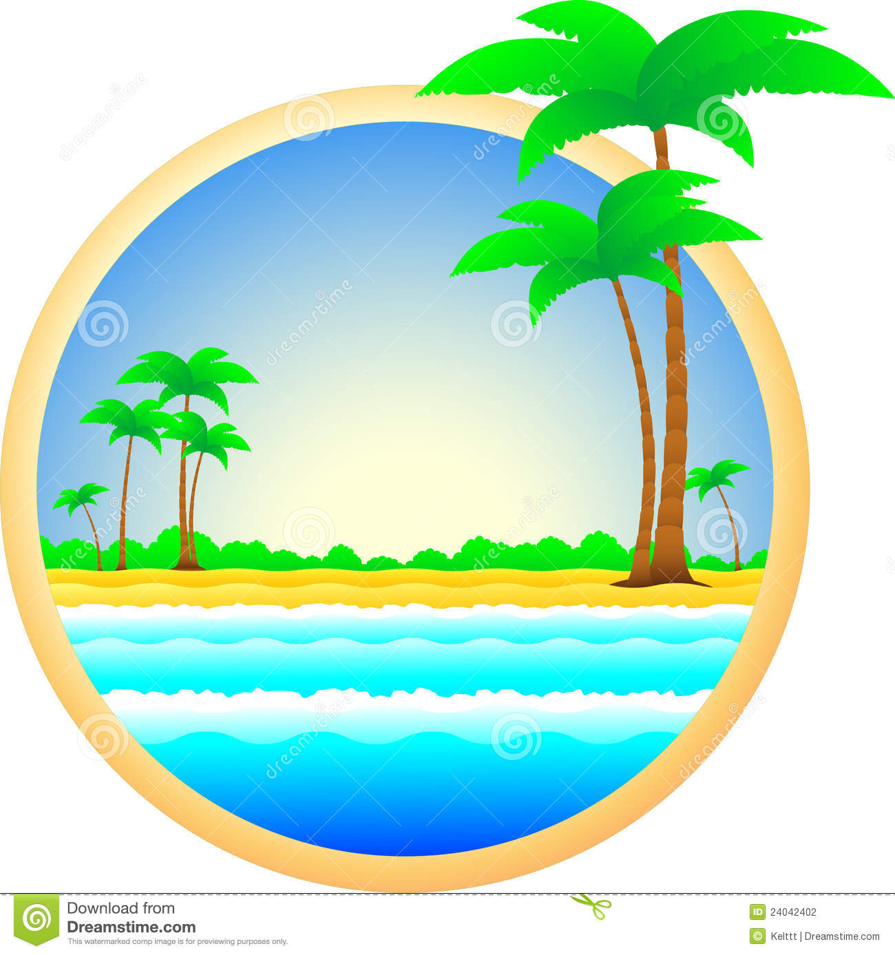 Symbol Of Sea Resort Palm Trees And Sand Stock Vector ...