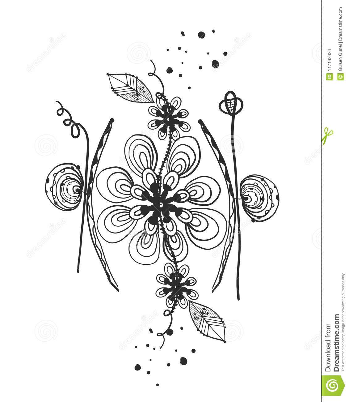 Summer Time Abstract Black Flowers Tattoo Nature Theme Abstract
