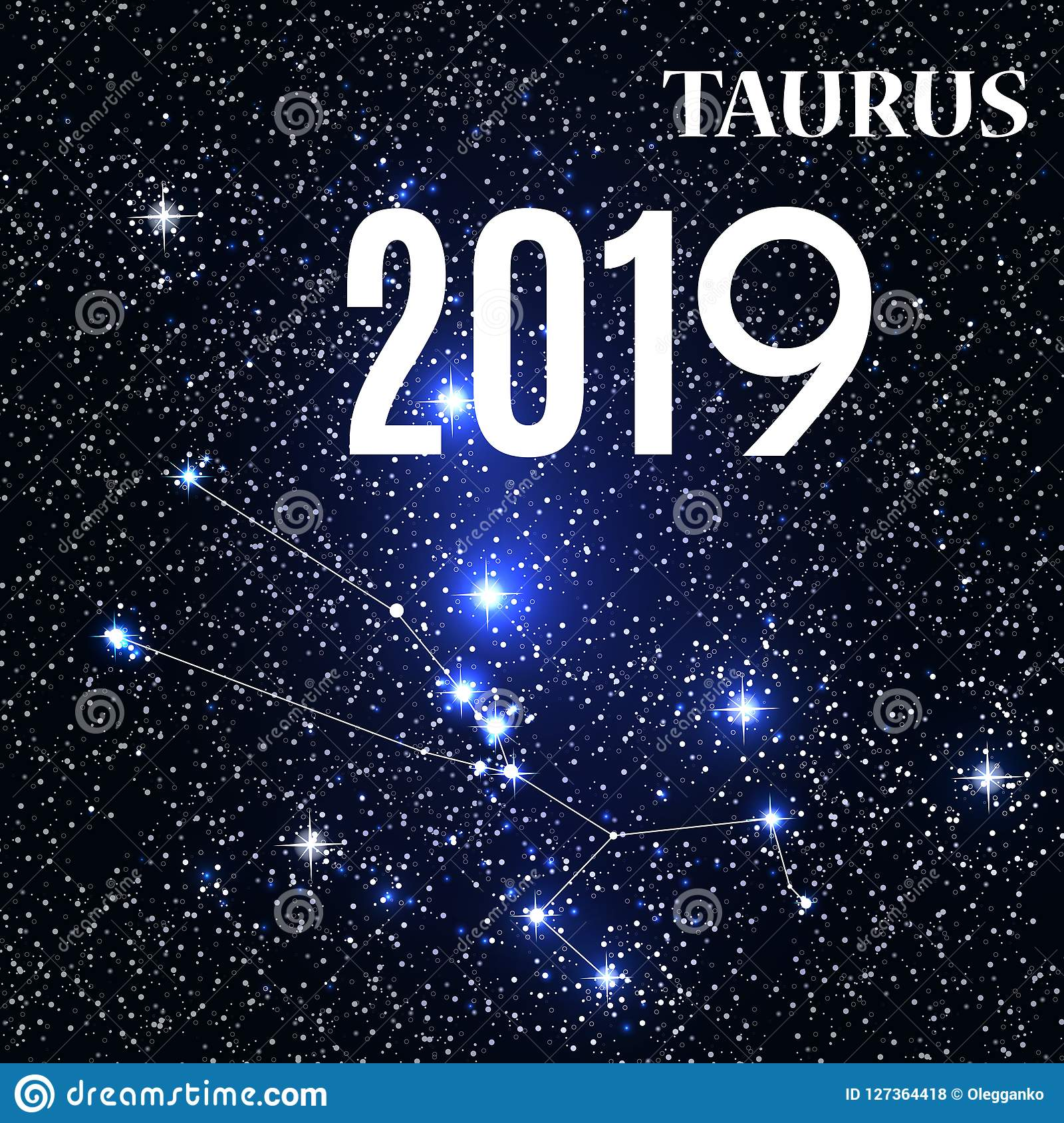 Symbol: Taurus Zodiac Sign With The New Year And Christmas 2019