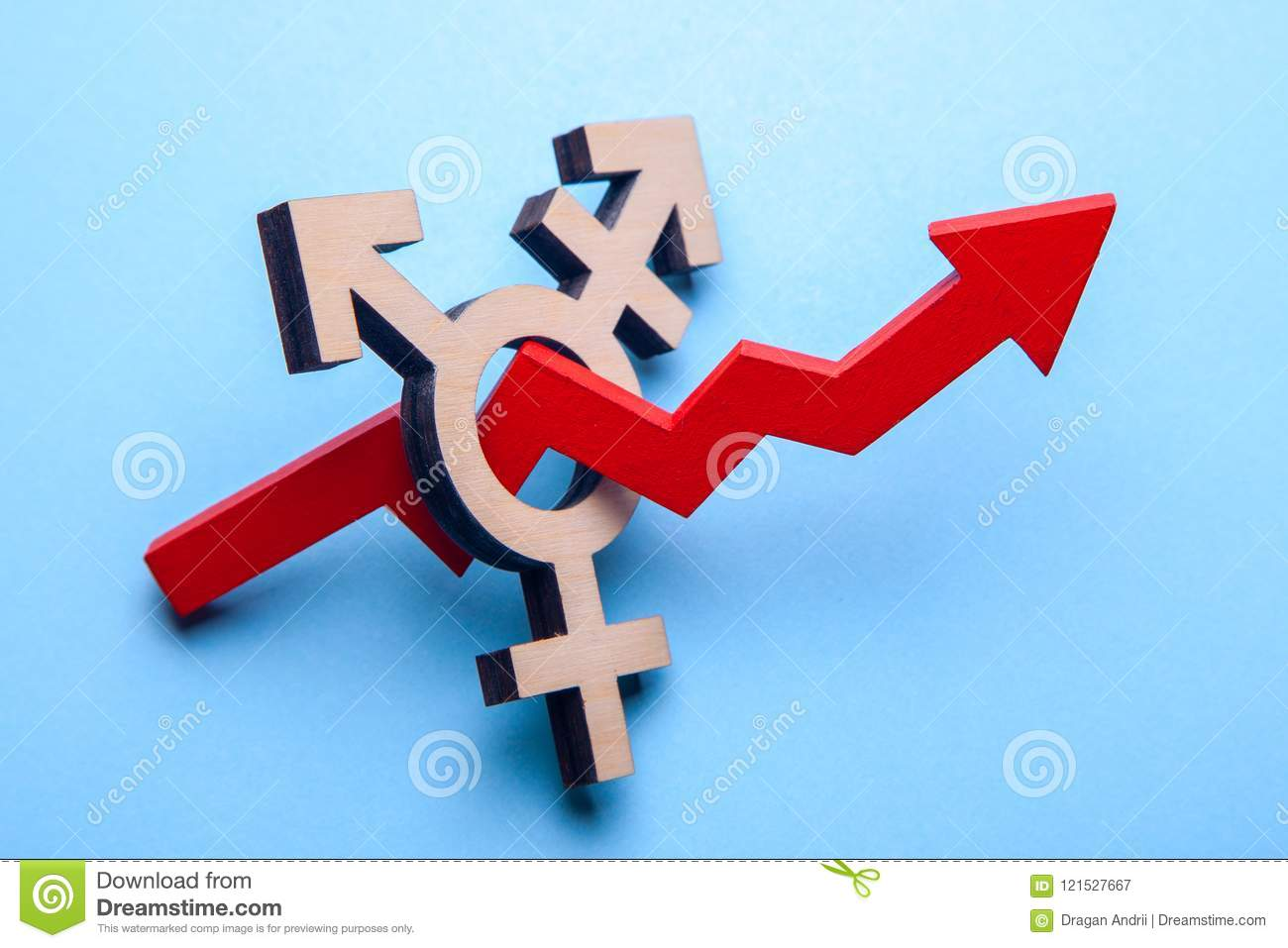 Symbol Of Transgender And Red Arrow Of Growth Graph Up On Blue