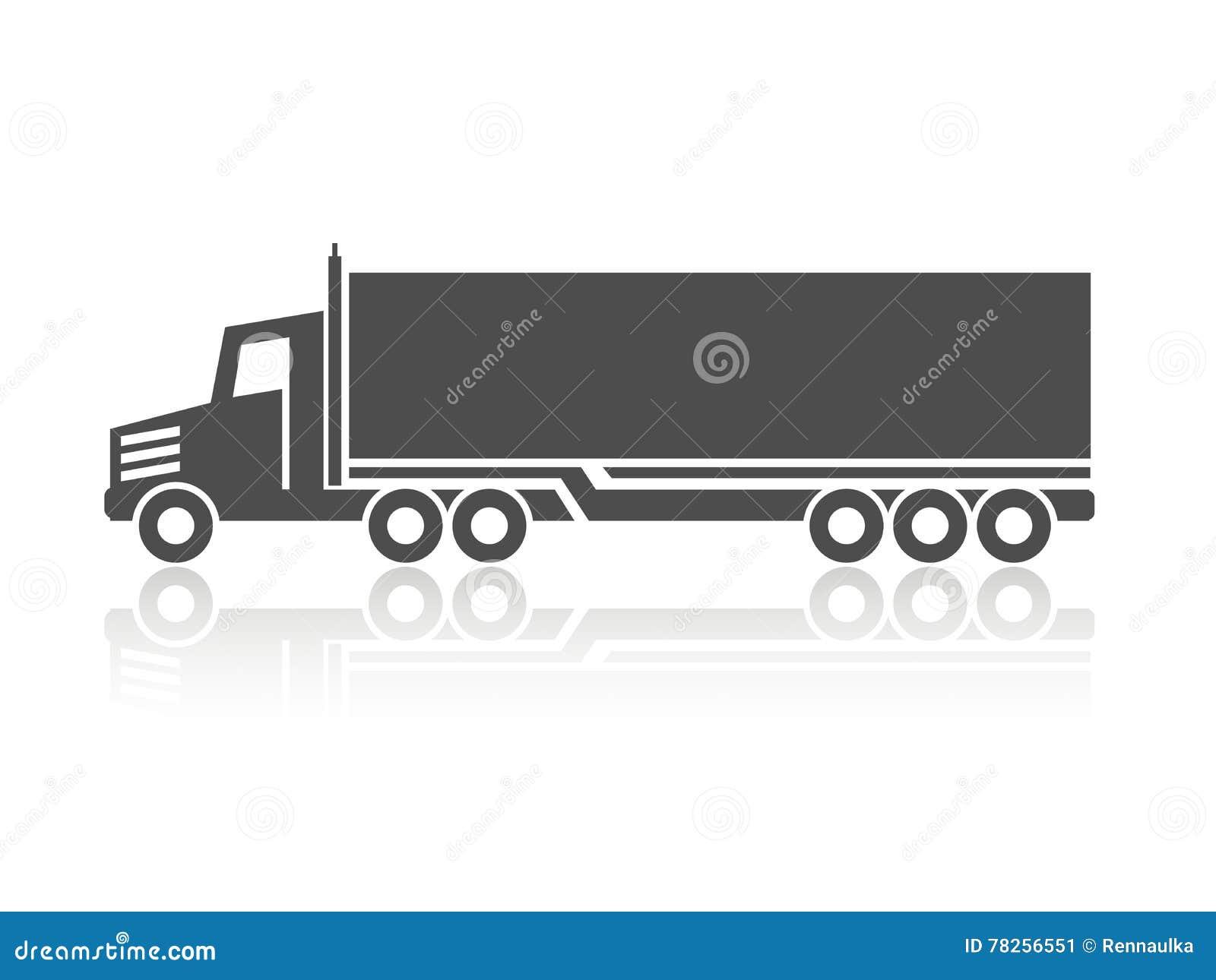 Symbol Of Transport Silhouette Of Truck Lorry Monochrome Design