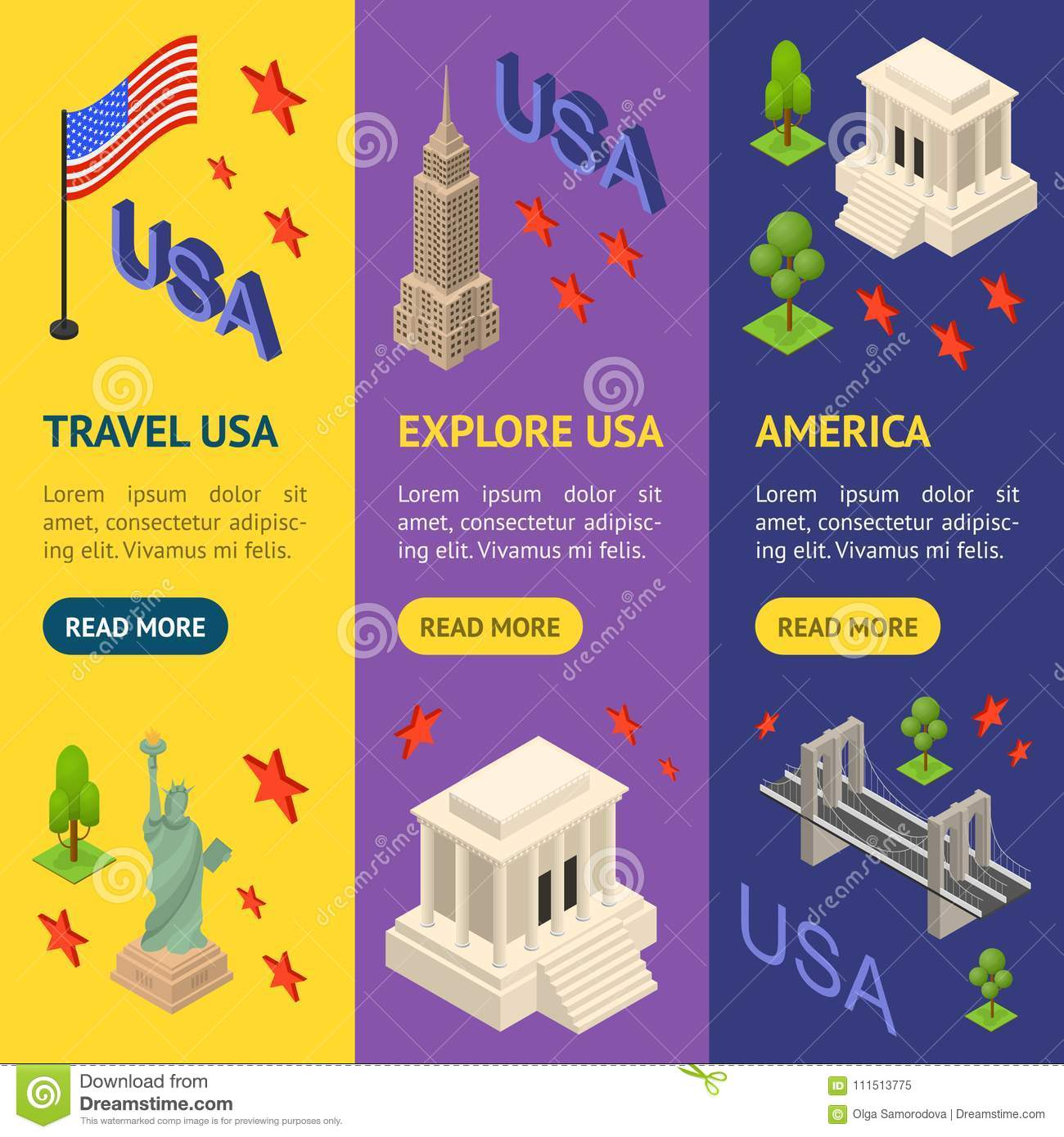 Symbol Of Usa Banner Vecrtical Set Concept Travel Isometric View