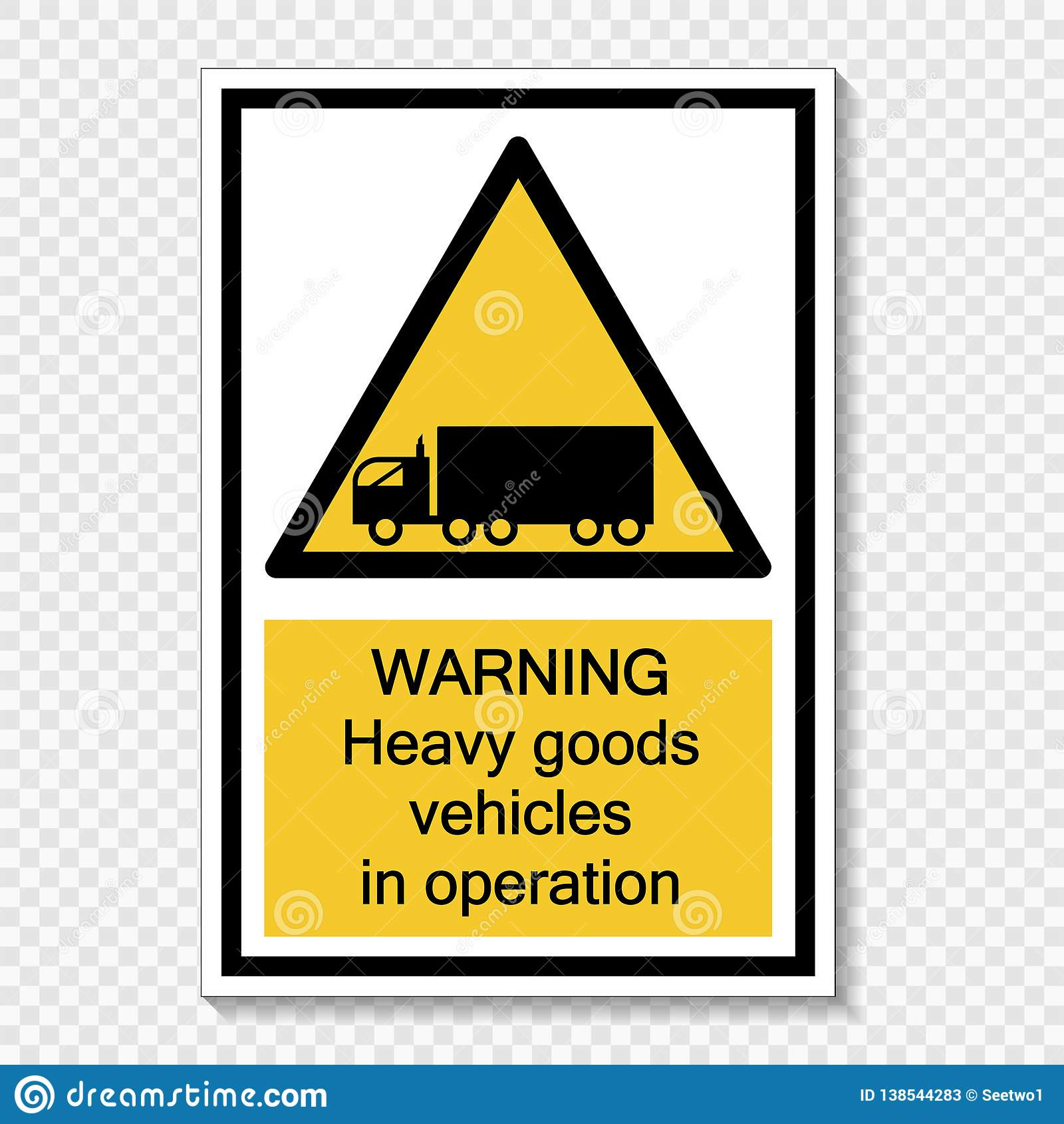 Symbol Warning heavy goods vehicles in operation sign label on transparent background