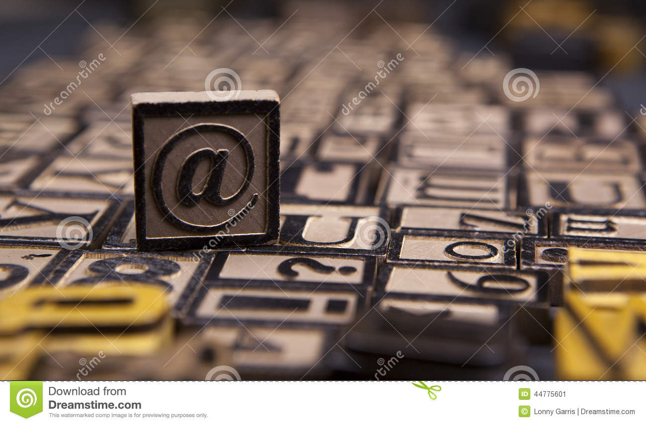 The Symbol In Wooden Letterpress Stock Image Image Of Word