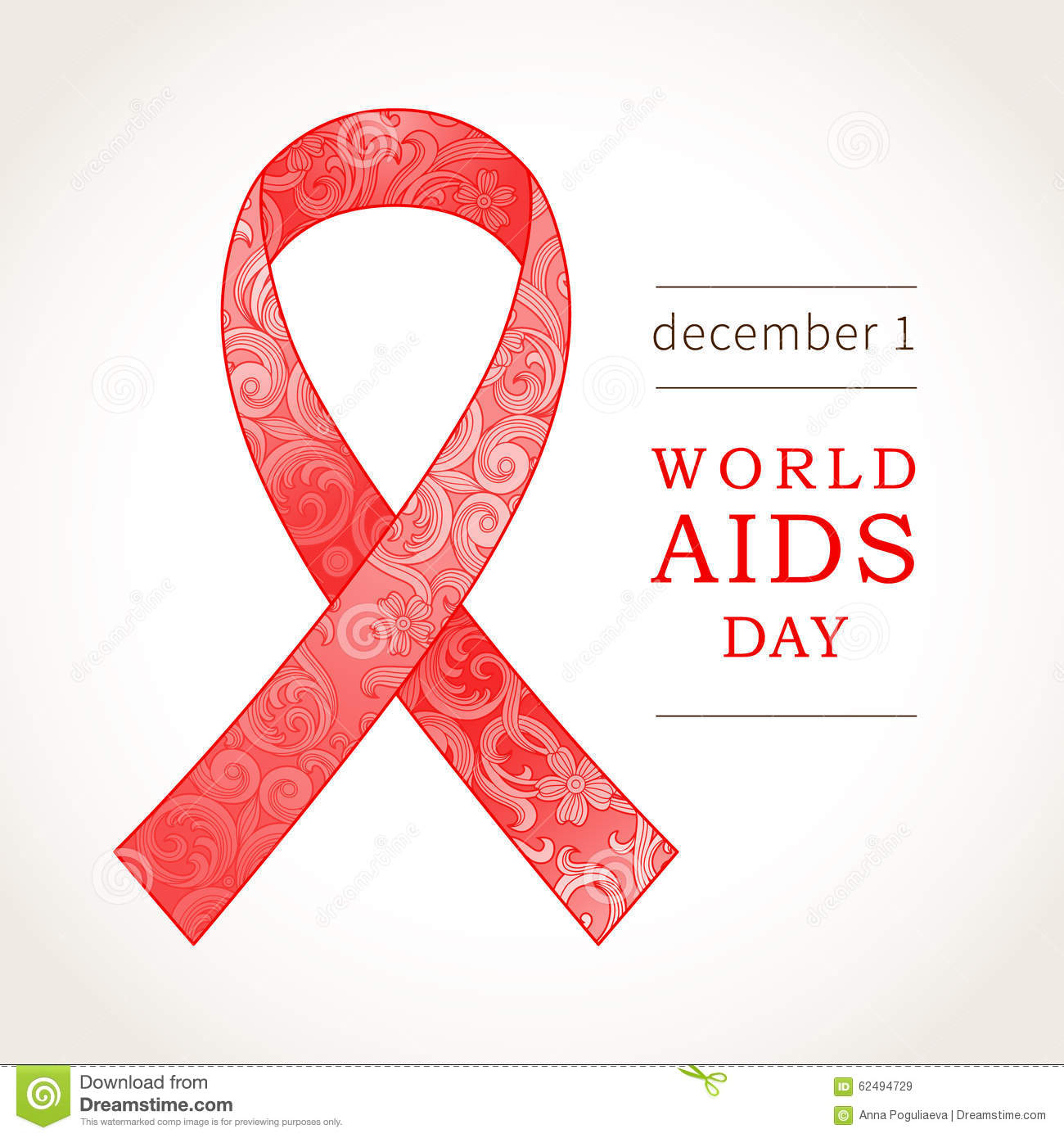 Symbol of World AIDS Day, December 1, Red ribbon.