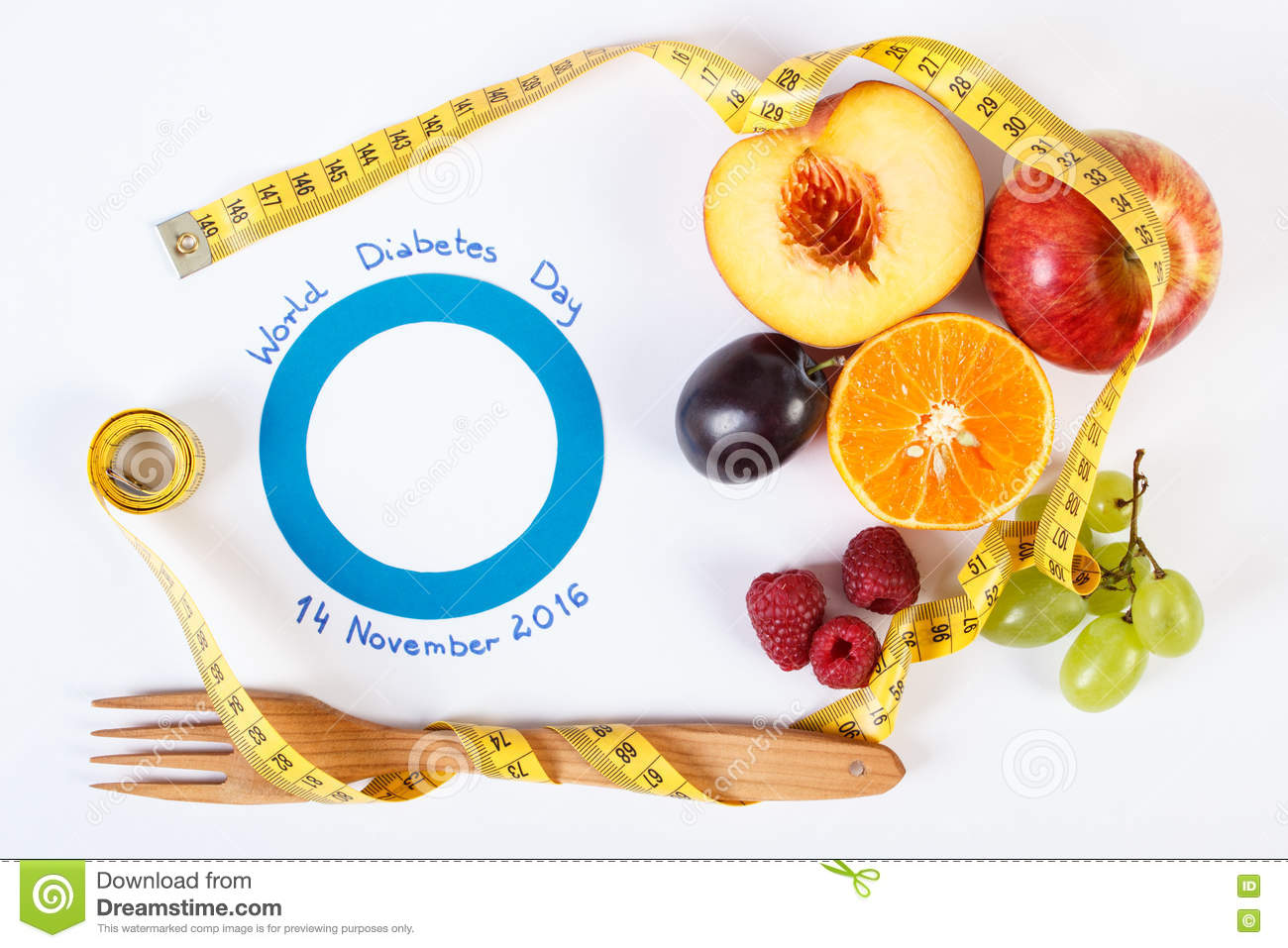 symbol of world diabetes day and fresh fruits centimeter symbol of world diabetes day and fresh fruits centimeter