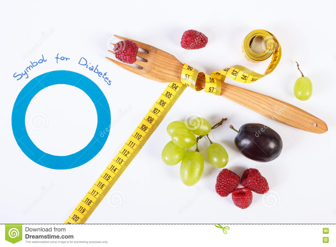 symbol of world diabetes day and fresh fruits centimeter symbol of world diabetes day and fresh fruits centimeter royalty stock images
