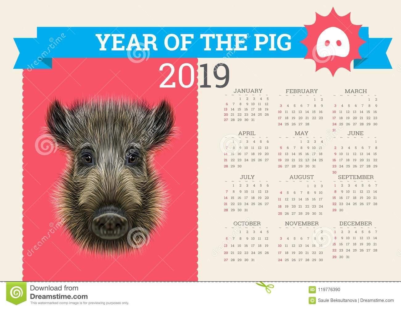 stylish pig calendar for 2019 vector template with concept symbol