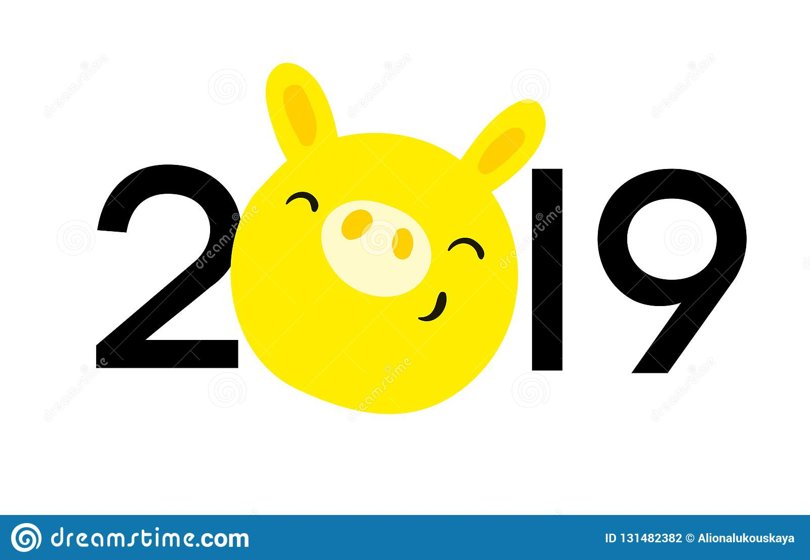 symbol 2019 year in eastern calendar yellow pig logo new year 2019 use for
