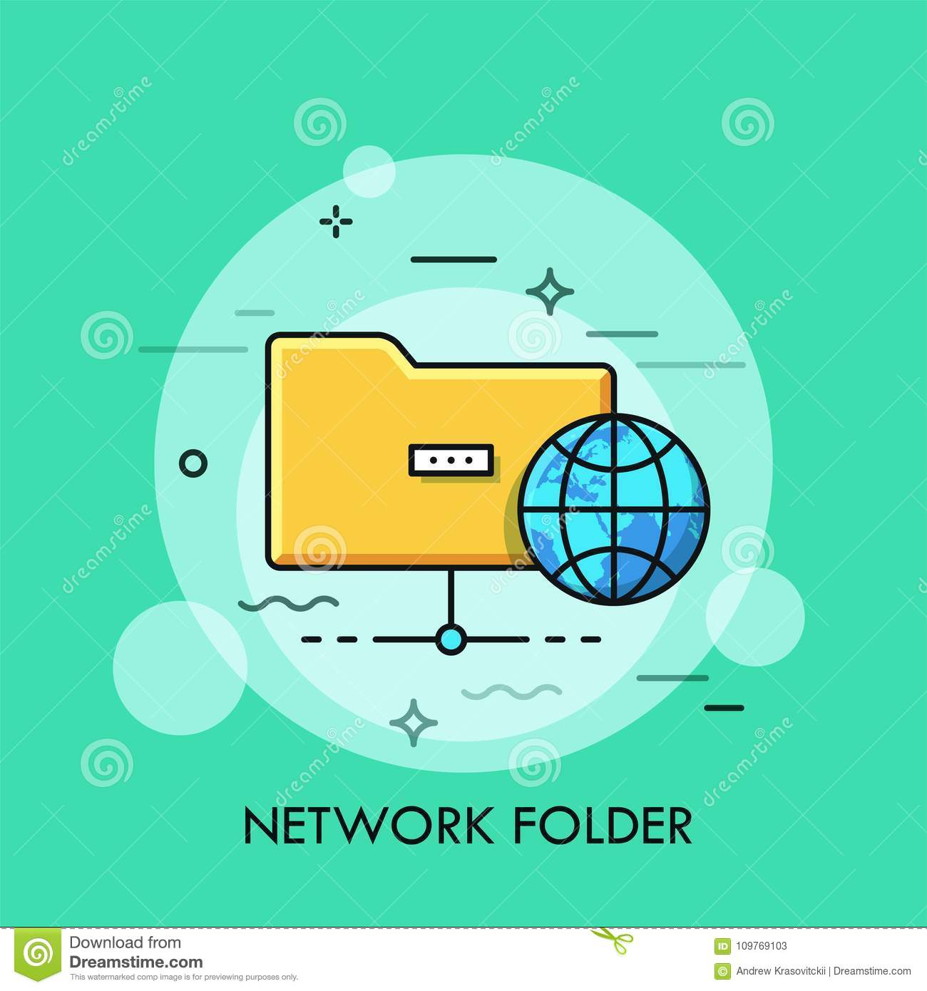 Symbol Of Yellow Folder And Globe. Concept Of Information Sharing ...