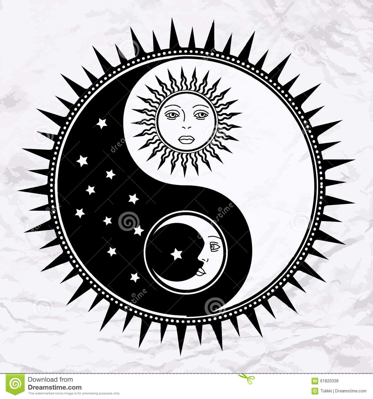 symbol yin yang mit mond und sonne vektor abbildung illustration von magie kreis 61820338. Black Bedroom Furniture Sets. Home Design Ideas