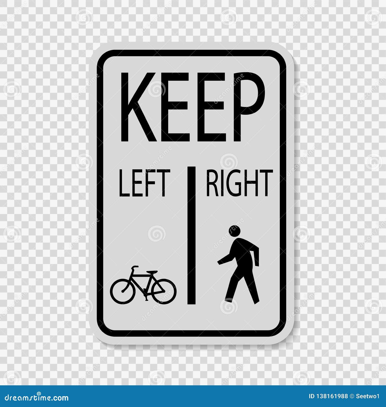 Symbolcyklar håller vänstra gångare för att hålla det högra tecknet på genomskinlig bakgrund
