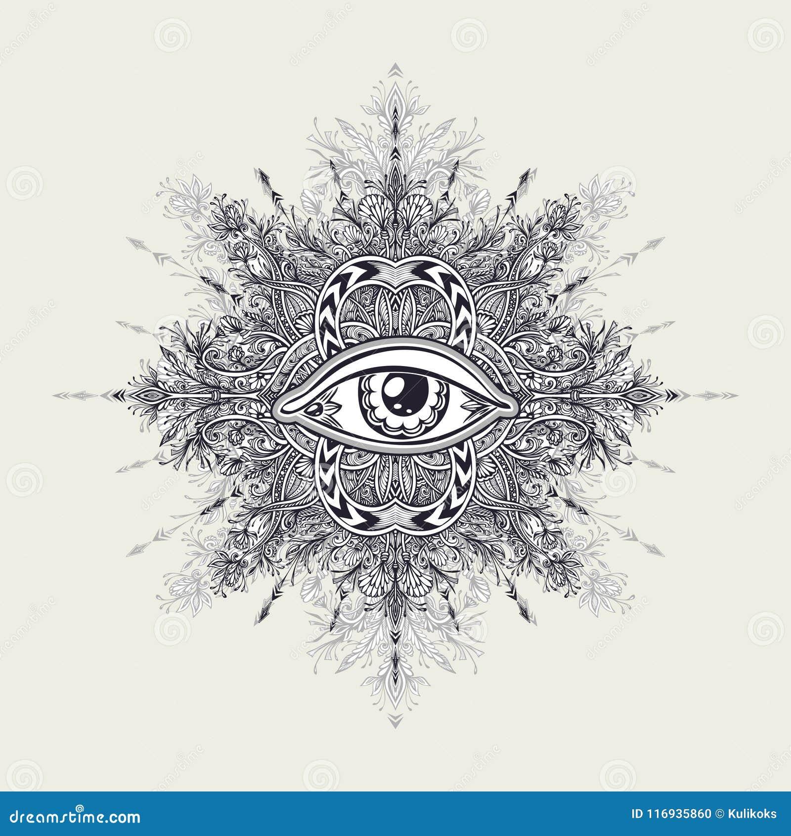 Symbole Abstrait D Oeil Tout Voyant Dans Le Style De Boho Pour Le