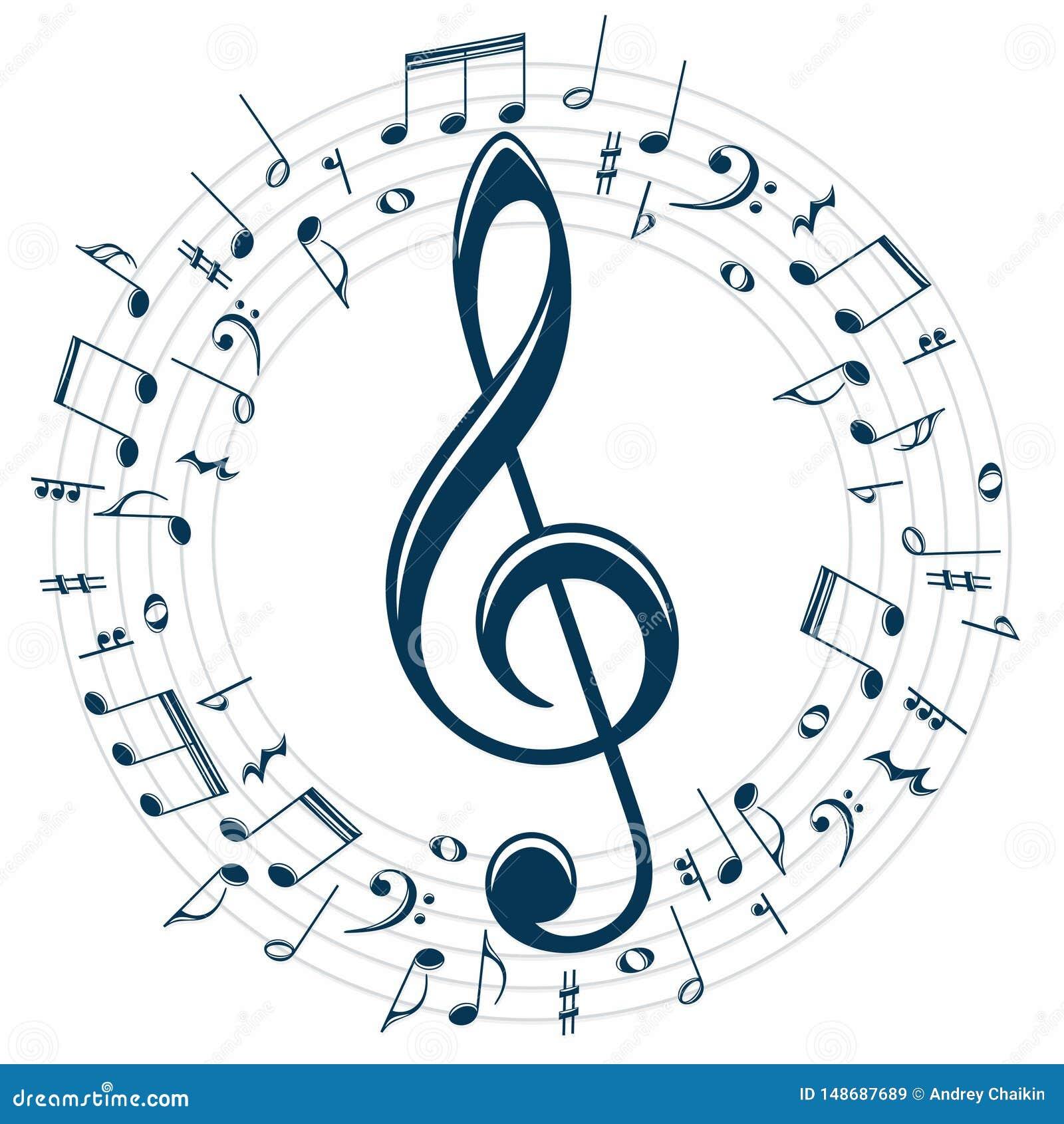 Symbole Avec Des Notes De Musique Illustration De Vecteur Illustration Du Stylis Clef 148687689