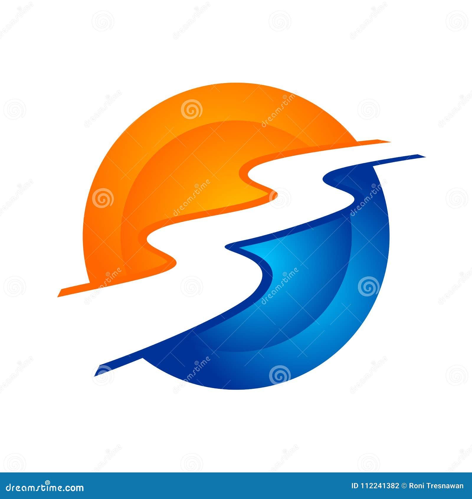 Symbole circulaire moderne Logo Design de courant de rivière